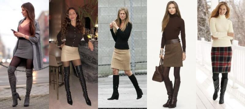Как носить юбку с сапогами?